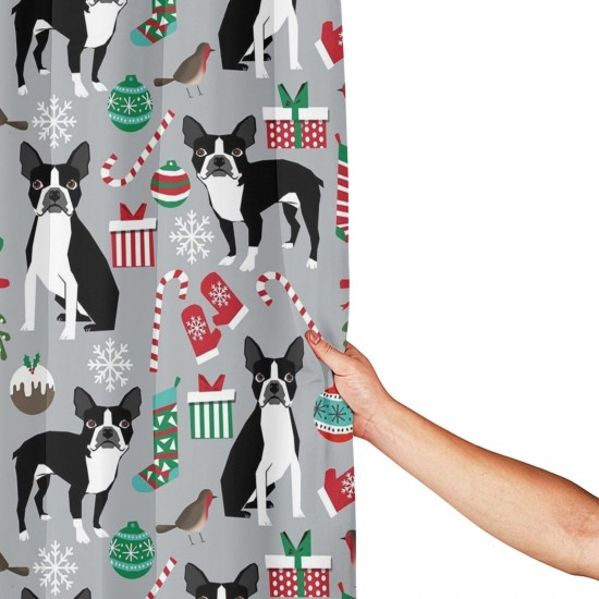 Boston Terrier Christmas Shower Curtain , Shower Bathroom Curtain 55x72 Inch Waterproof Fabric with Hooks , Wildly used in bathroom and hotel etc.