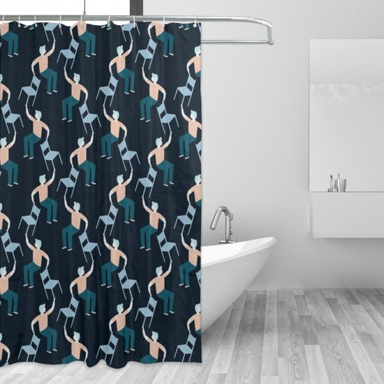 Chair Juggling Shower Curtain , Shower Bathroom Curtain 55x72 Inch Waterproof Fabric with Hooks , Wildly used in bathroom and hotel etc.