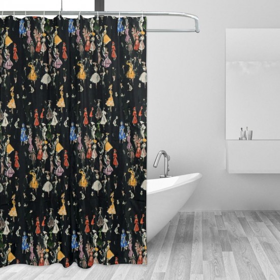 Black Gathering People Shower Curtain , Shower Bathroom Curtain 55x72 Inch Waterproof Fabric with Hooks , Wildly used in bathroom and hotel etc.