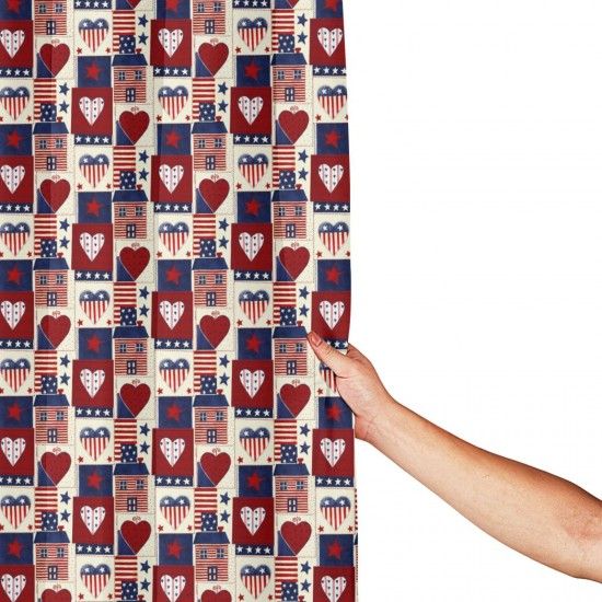 Americana Heart Shower Curtain , Shower Bathroom Curtain 55x72 Inch Waterproof Fabric with Hooks , Wildly used in bathroom and hotel etc.