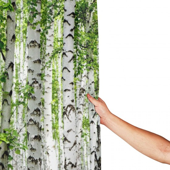 Birch Trees Shower Curtain , Shower Bathroom Curtain 55x72 Inch Waterproof Fabric with Hooks , Wildly used in bathroom and hotel etc.