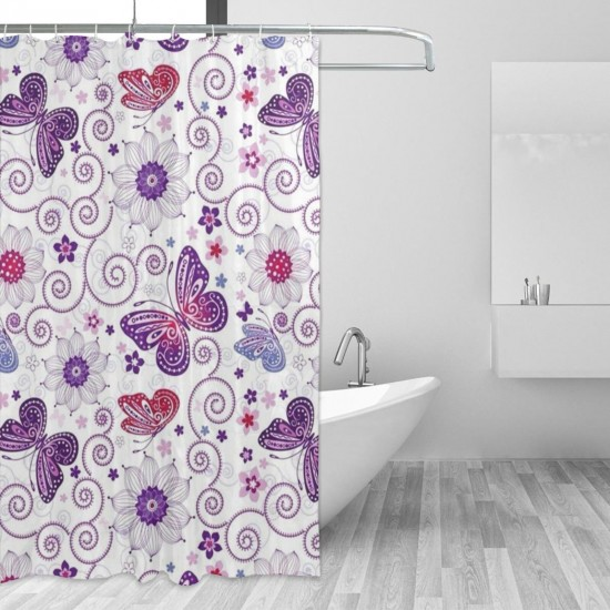 Flowers And Butterflies Shower Curtain , Shower Bathroom Curtain 55x72 Inch Waterproof Fabric with Hooks , Wildly used in bathroom and hotel etc.