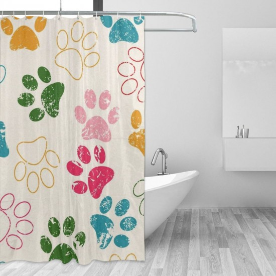 Cat Dog Grunge Paws Footprints Shower Curtain , Shower Bathroom Curtain 55x72 Inch Waterproof Fabric with Hooks , Wildly used in bathroom and hotel etc.