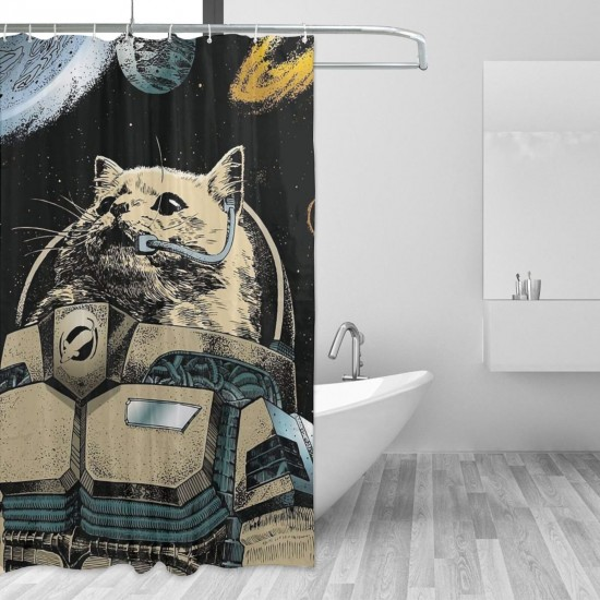 Cat Astronaut Shower Curtain , Shower Bathroom Curtain 55x72 Inch Waterproof Fabric with Hooks , Wildly used in bathroom and hotel etc.