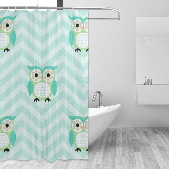 Cartoon Owls Pattern Shower Curtain , Shower Bathroom Curtain 55x72 Inch Waterproof Fabric with Hooks , Wildly used in bathroom and hotel etc.