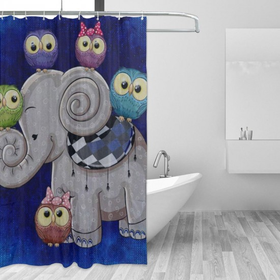 Cartoon Elephant And Owl Shower Curtain , Shower Bathroom Curtain 55x72 Inch Waterproof Fabric with Hooks , Wildly used in bathroom and hotel etc.