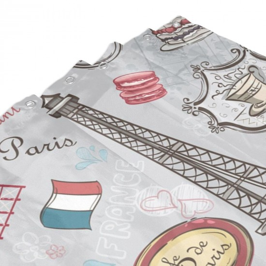 Cartoon Donuts Paris Eiffel Tower Shower Curtain , Shower Bathroom Curtain 55x72 Inch Waterproof Fabric with Hooks , Wildly used in bathroom and hotel etc.