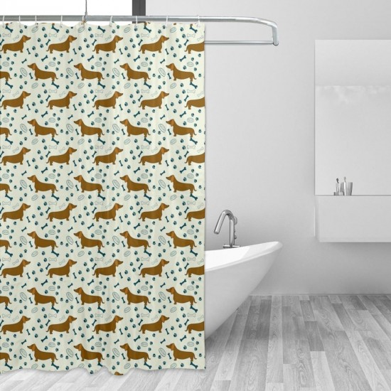 Cartoon Dachshunds Shower Curtain , Shower Bathroom Curtain 55x72 Inch Waterproof Fabric with Hooks , Wildly used in bathroom and hotel etc.