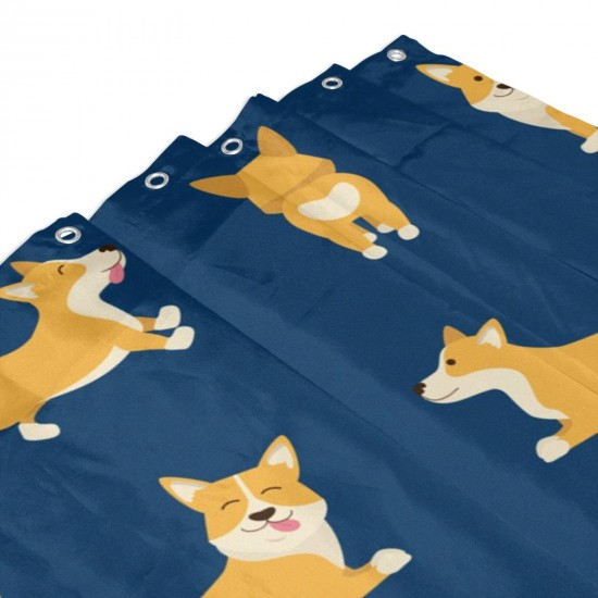 Cartoon Characters Welsh Corgi Shower Curtain , Shower Bathroom Curtain 55x72 Inch Waterproof Fabric with Hooks , Wildly used in bathroom and hotel etc.