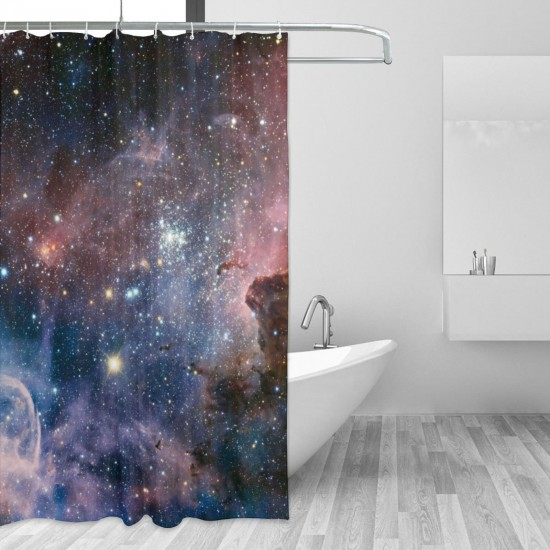 Carina Nebula Space Shower Curtain , Shower Bathroom Curtain 55x72 Inch Waterproof Fabric with Hooks , Wildly used in bathroom and hotel etc.