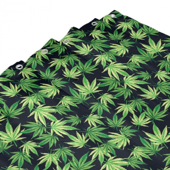 Cannabis Leafs Pattern Shower Curtain , Shower Bathroom Curtain 55x72 Inch Waterproof Fabric with Hooks , Wildly used in bathroom and hotel etc.