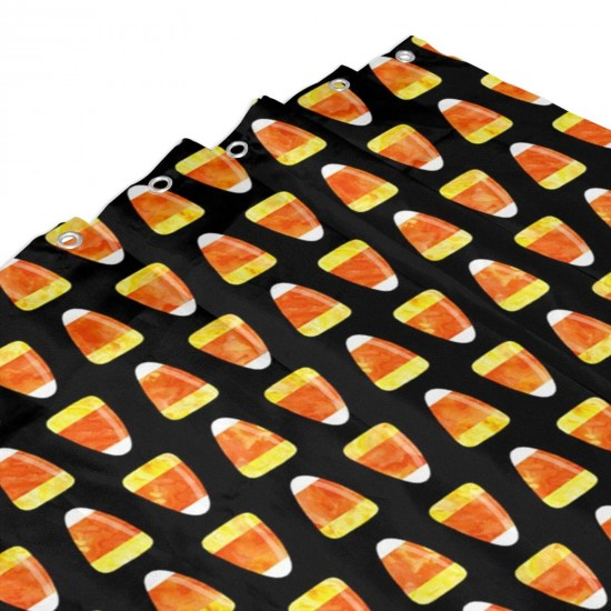 Candy Corn Black Shower Curtain , Shower Bathroom Curtain 55x72 Inch Waterproof Fabric with Hooks , Wildly used in bathroom and hotel etc.