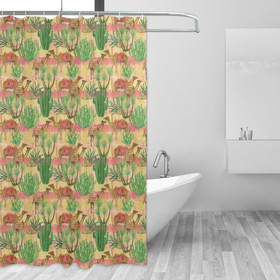Camel Cacti And Palm Tree Shower Curtain , Shower Bathroom Curtain 55x72 Inch Waterproof Fabric with Hooks , Wildly used in bathroom and hotel etc.