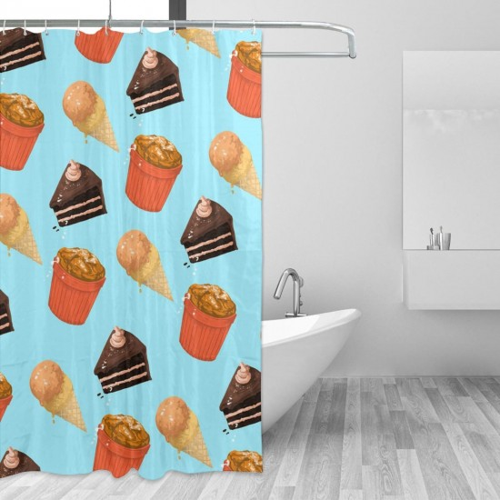 Cake Cone Shower Curtain , Shower Bathroom Curtain 55x72 Inch Waterproof Fabric with Hooks , Wildly used in bathroom and hotel etc.