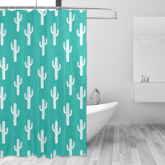 Cactus Turquoise Shower Curtain , Shower Bathroom Curtain 55x72 Inch Waterproof Fabric with Hooks , Wildly used in bathroom and hotel etc.