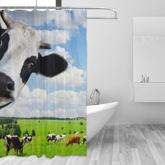 Milk Cow Pasture Meadow Grassland Shower Curtain , Shower Bathroom Curtain 55x72 Inch Waterproof Fabric with Hooks , Wildly used in bathroom and hotel etc.