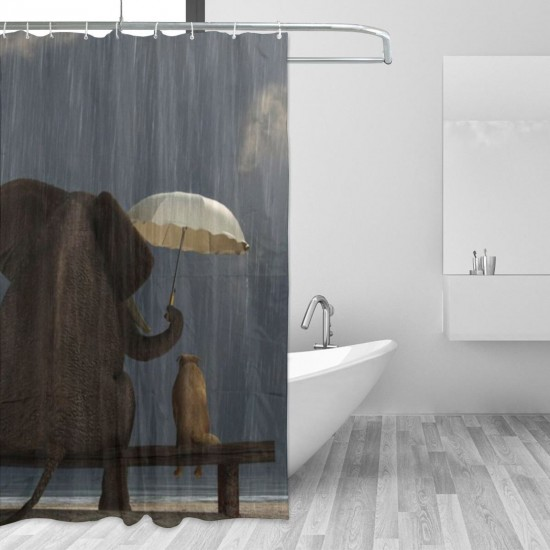 Elephant Puppy On The Sandy Beach Shower Curtain , Shower Bathroom Curtain 55x72 Inch Waterproof Fabric with Hooks , Wildly used in bathroom and hotel etc.