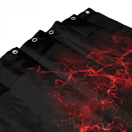 Black Background Red Color Paint Explosion Burst Shower Curtain , Shower Bathroom Curtain 55x72 Inch Waterproof Fabric with Hooks , Wildly used in bathroom and hotel etc.