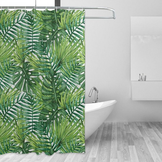 Watercolor Print Botanical Wild Palm Shower Curtain , Shower Bathroom Curtain 55x72 Inch Waterproof Fabric with Hooks , Wildly used in bathroom and hotel etc.