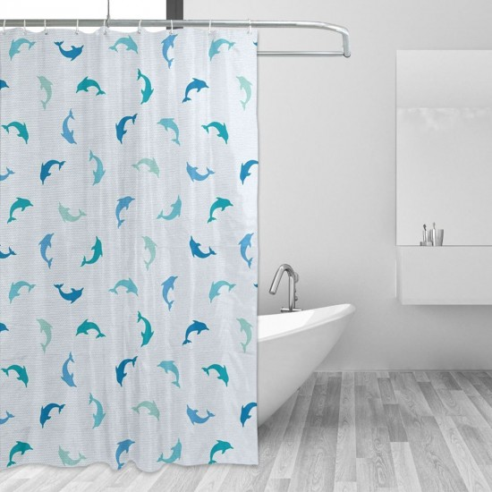 Sea Animals Shower Curtain , Shower Bathroom Curtain 55x72 Inch Waterproof Fabric with Hooks , Wildly used in bathroom and hotel etc.