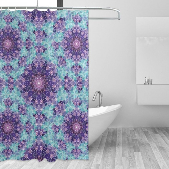 Purple Mandala Shower Curtain , Shower Bathroom Curtain 55x72 Inch Waterproof Fabric with Hooks , Wildly used in bathroom and hotel etc.