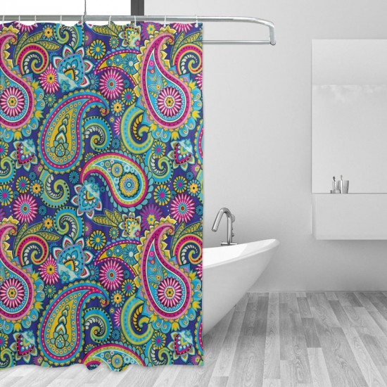 Old Fashioned Eastern Floral Paisley Motif Shower Curtain , Shower Bathroom Curtain 55x72 Inch Waterproof Fabric with Hooks , Wildly used in bathroom and hotel etc.