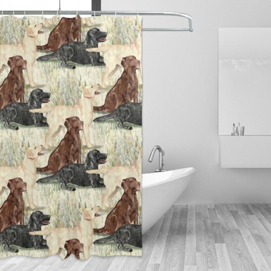 Chocolate Yellow And Black Lab In Wildflowers Shower Curtain , Shower Bathroom Curtain 55x72 Inch Waterproof Fabric with Hooks , Wildly used in bathroom and hotel etc.