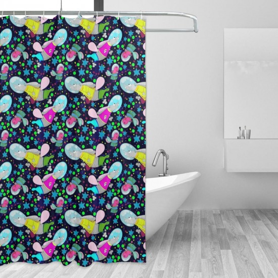 Child Hippo Rabbit Pattern Shower Curtain , Shower Bathroom Curtain 55x72 Inch Waterproof Fabric with Hooks , Wildly used in bathroom and hotel etc.