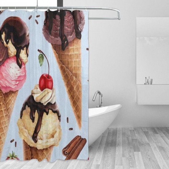 Cherry Fruit Ice Cream Shower Curtain , Shower Bathroom Curtain 55x72 Inch Waterproof Fabric with Hooks , Wildly used in bathroom and hotel etc.