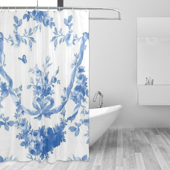Catherine In Blueberry On White Shower Curtain , Shower Bathroom Curtain 55x72 Inch Waterproof Fabric with Hooks , Wildly used in bathroom and hotel etc.