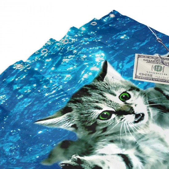 Cat Under Water Dollar Band Shower Curtain , Shower Bathroom Curtain 55x72 Inch Waterproof Fabric with Hooks , Wildly used in bathroom and hotel etc.