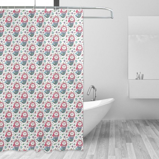Cat Mermaid Shower Curtain , Shower Bathroom Curtain 55x72 Inch Waterproof Fabric with Hooks , Wildly used in bathroom and hotel etc.