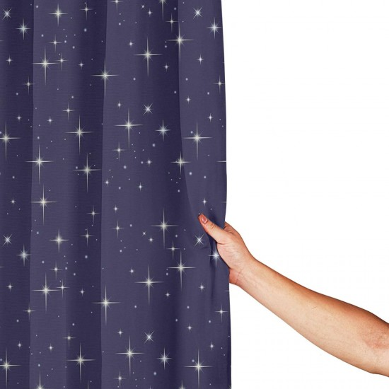 Night Sky With Stars Romantic Space Shower Curtain , Shower Bathroom Curtain 55x72 Inch Waterproof Fabric with Hooks , Wildly used in bathroom and hotel etc.