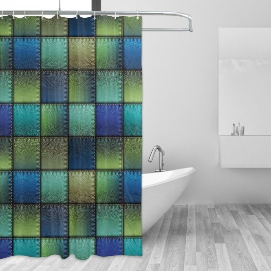 Modern Square Shaped Backdrop Shower Curtain , Shower Bathroom Curtain 55x72 Inch Waterproof Fabric with Hooks , Wildly used in bathroom and hotel etc.