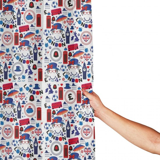 London Queen Elizabeth Umbrella Tea Party Shower Curtain , Shower Bathroom Curtain 55x72 Inch Waterproof Fabric with Hooks , Wildly used in bathroom and hotel etc.