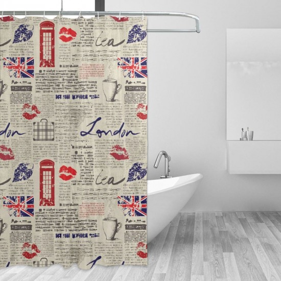 London Newspaper Inspired Background Shower Curtain , Shower Bathroom Curtain 55x72 Inch Waterproof Fabric with Hooks , Wildly used in bathroom and hotel etc.
