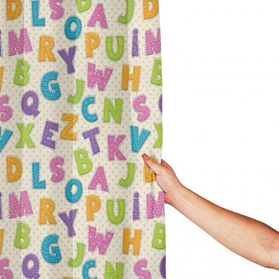 Lively Colors ABC Alphabet Shower Curtain , Shower Bathroom Curtain 55x72 Inch Waterproof Fabric with Hooks , Wildly used in bathroom and hotel etc.