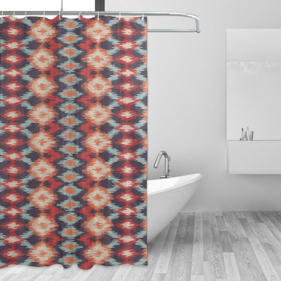 Indigenous Civilizations Rhombus Shower Curtain , Shower Bathroom Curtain 55x72 Inch Waterproof Fabric with Hooks , Wildly used in bathroom and hotel etc.