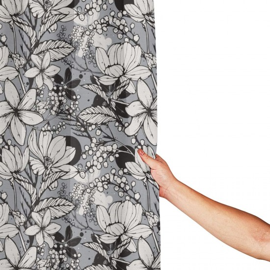 Hand Drawn Flowers Frangipani Mimosa Shower Curtain , Shower Bathroom Curtain 55x72 Inch Waterproof Fabric with Hooks , Wildly used in bathroom and hotel etc.
