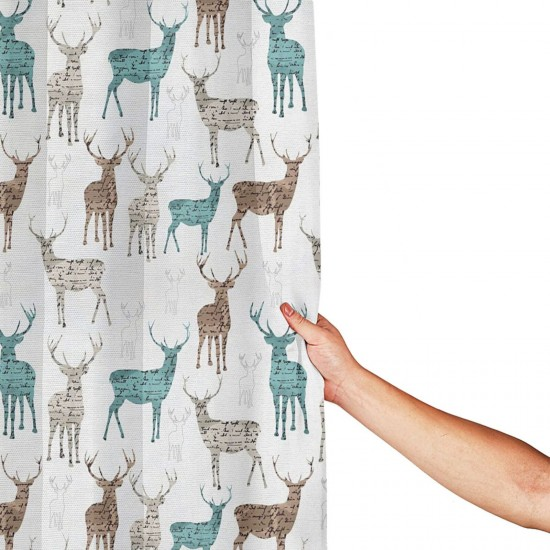 Deer Shower Curtain , Shower Bathroom Curtain 55x72 Inch Waterproof Fabric with Hooks , Wildly used in bathroom and hotel etc.
