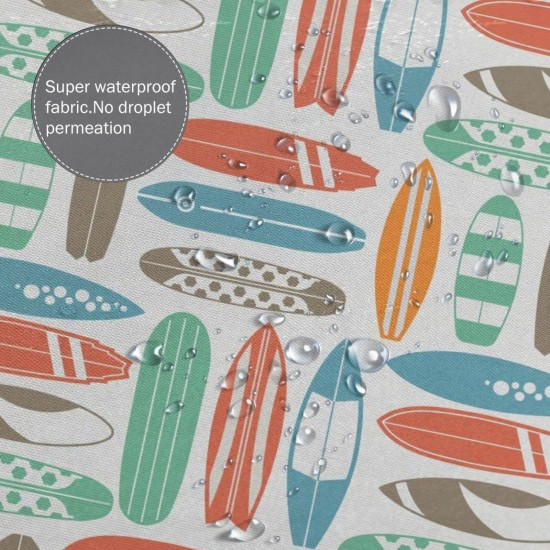 Colorful Surfing Sea Pattern Shower Curtain , Shower Bathroom Curtain 55x72 Inch Waterproof Fabric with Hooks , Wildly used in bathroom and hotel etc.