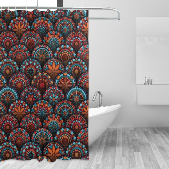 Circles Pattern Mandala Inspired Floral Shower Curtain , Shower Bathroom Curtain 55x72 Inch Waterproof Fabric with Hooks , Wildly used in bathroom and hotel etc.