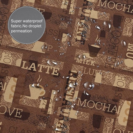 Cafeteria Coffee Pattern Shower Curtain , Shower Bathroom Curtain 55x72 Inch Waterproof Fabric with Hooks , Wildly used in bathroom and hotel etc.