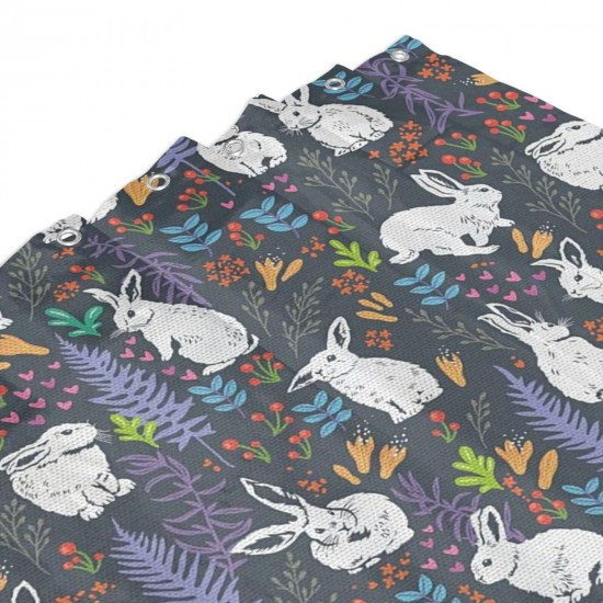 Bunnies Among Leaves Branches Flowers Shower Curtain , Shower Bathroom Curtain 55x72 Inch Waterproof Fabric with Hooks , Wildly used in bathroom and hotel etc.