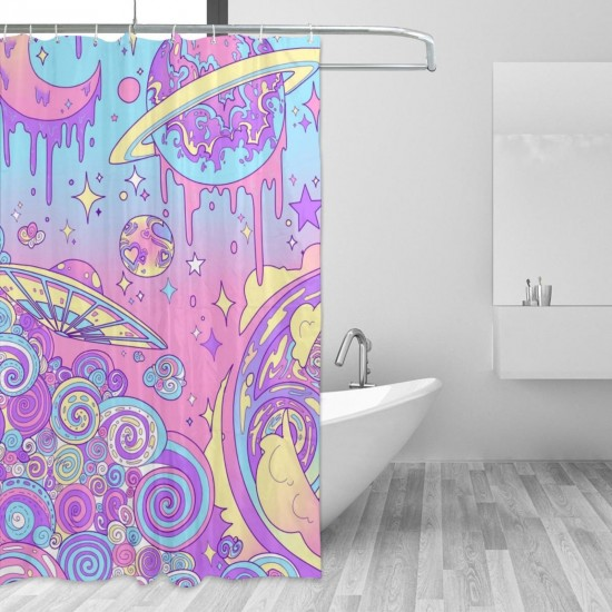 Colorful Oil Stars Planet Shower Curtain , Shower Bathroom Curtain 55x72 Inch Waterproof Fabric with Hooks , Wildly used in bathroom and hotel etc.