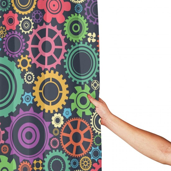 Colorful Gear In Mechanical Pattern Shower Curtain , Shower Bathroom Curtain 55x72 Inch Waterproof Fabric with Hooks , Wildly used in bathroom and hotel etc.
