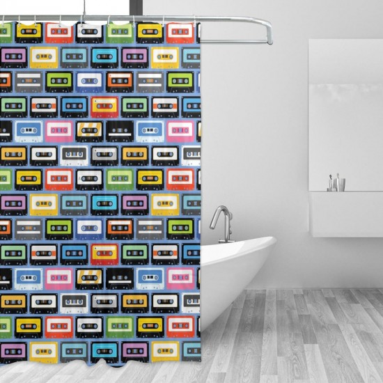 Colorful Cassettes Shower Curtain , Shower Bathroom Curtain 55x72 Inch Waterproof Fabric with Hooks , Wildly used in bathroom and hotel etc.