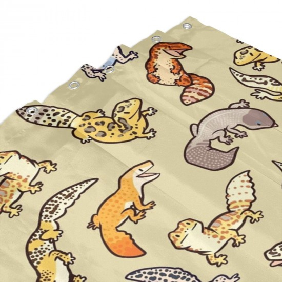 Chub Gecko Babies Shower Curtain , Shower Bathroom Curtain 55x72 Inch Waterproof Fabric with Hooks , Wildly used in bathroom and hotel etc.