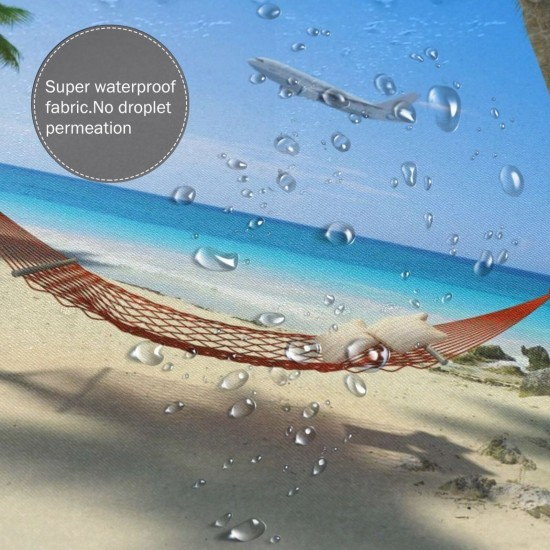 Tropical Beach Hammock Hanging From Palm Trees Shower Curtain , Shower Bathroom Curtain 55x72 Inch Waterproof Fabric with Hooks , Wildly used in bathroom and hotel etc.