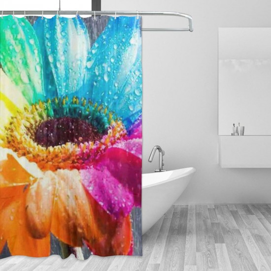 Rainbow Flower Shower Curtain , Shower Bathroom Curtain 55x72 Inch Waterproof Fabric with Hooks , Wildly used in bathroom and hotel etc.